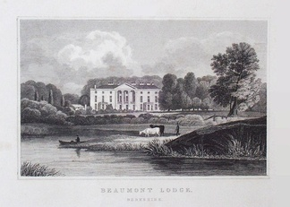 18th-century view of Beaumont Lodge – placed closer to the river Thames than it now is, whether because the river has moved or by artistic licence