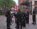 Denver Police bear riot gear during the 2008 Democratic National Convention
