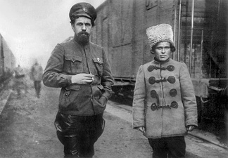 Red Army commander Pavel Dybenko and Nestor Makhno, 1919