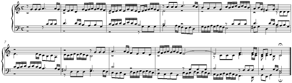 "Example of stretto fugue in a quotation from Fugue in C major by Johann Caspar Ferdinand Fischer who died in 1746. The subject, including an eighth note rest, is seen in the alto voice, starting on beat 1 bar 1 and ending on beat 1 bar 3, which is where the answer would usually be expected to begin. As this is a stretto, the answer already takes place in the tenor voice, on the third quarter note of the first bar, therefore coming in ""early"". listen (help·info)"