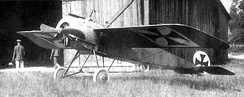 "The actual aircraft used by Wintgens in his pioneering aerial engagement, his Fokker M.5K/MG with IdFlieg military serial number ""E.5/15"", as it appeared at the time of the engagement."