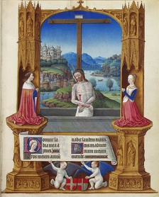 Man of Sorrows, with Duke Charles I of Savoy and his wife from 1485 to 1489; folio 75r