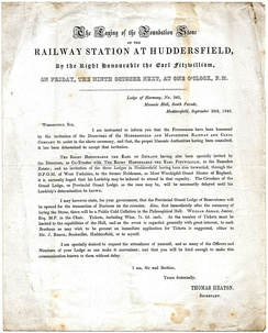 Freemasons' circular, dated 25 September 1846, regarding attendance at the laying of the station's foundation stone by the Earl Fitzwilliam