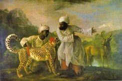 George Stubbs: Cheetah with Two Indian Attendants and a Stag, 1765