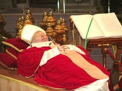 Pope John Paul II's body lying in state.