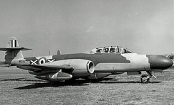 A Gloster Meteor NF.11, much like what No. 125 Squadron operated in 1955.