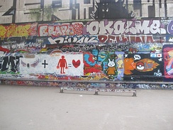 Graffiti at Bercy skatepark.