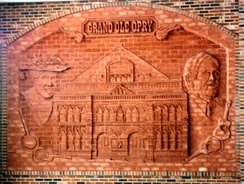 Decorative brickwork at Opryland Hotel depicting Ryman Auditorium with Minnie Pearl and Roy Acuff