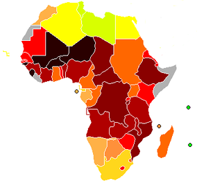 Map of Africa indicating Human Development Index (2004).          above 0.950   0.900–0.949   0.850–0.899   0.800–0.849   0.750–0.799      0.700–0.749   0.650–0.699   0.600–0.649   0.550–0.599   0.500–0.549      0.450–0.499   0.400–0.449   0.350–0.399   0.300–0.349   under 0.300   n/a