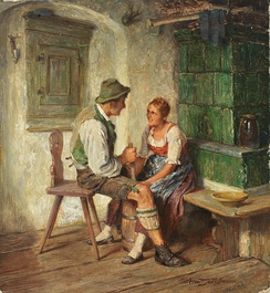 Painting by Hermann Kauffmann (1808–1889), Tändelndes Paar beim Buttern in der Stube (Couple courting while churning butter)