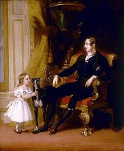 Victoria with her father Prince Albert and his greyhound Eos. Portrait by John Lucas, 1841.