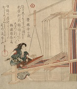An early nineteenth century Japanese loom with several heddles, which the weaver controls with her foot