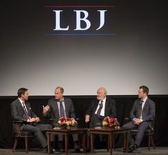 (L–R) Mark Updegrove (LBJ Library Director), Woody Harrelson, Rob Reiner and Joey Hartstone participate in a discussion following a screening of LBJ at the LBJ Presidential Library