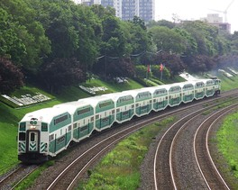 A GO Train along the Lakeshore West line at Sunnyside in Toronto