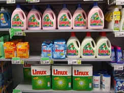 "The name ""Linux"" is also used for a laundry detergent made by Swiss company Rösch.[181]"
