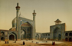 Painting by the French architect, Pascal Coste, visiting Persia in 1841 (from Monuments modernes de la Perse). In the Safavid era the Persian architecture flourished again and saw many new monuments, such as the Masjid-e Shah, part of Naghsh-i Jahan Square which is the biggest historic plaza in the world.