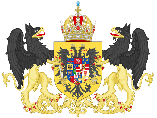 Middle Coat of arms of the Austrian part of the Empire in 1915. It shows as a center shield (inescutcheon) the personal arms of Habsburg-Lorraine over the arms of dominions of the Habsburg lands. It usually had the personal arms of Habsburg-Lorraine in the center.