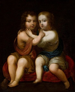 Portrait of Louis XIV of France as a child with his milk-sister Henrietta of England by circle of Pierre Mignard, ca. 1646, National Museum in Warsaw.