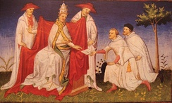Niccolo and Maffeo Polo remitting a letter from Kublai Khan to Pope Gregory X in 1271