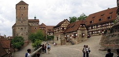 Courtyard of the imperial castle of Nuremberg, Bavaria, Germany