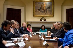 President Barack Obama meeting with BP executives at the White House in June 2010 to discuss the oil spill in the Gulf of Mexico