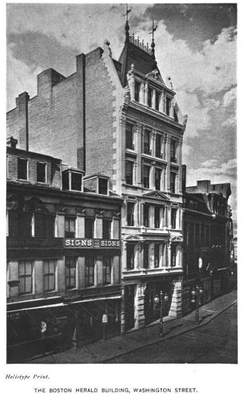 The old Herald headquarters at 255 Washington Street (built 1878)