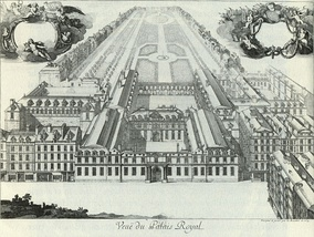 View of the Palais-Royal in 1679. The theatre was in the east wing (on the right).