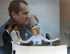 First Lady Pat Nixon speaking at the 1972 Republican National Convention. She was the first Republican First Lady to do what is now considered common practice.