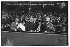 Paul Joseph Lannin and Dorothy A. Lannin, Ban Johnson, Joseph John Lannin and Hannah Furlong, his wife, at the 1916 World Series