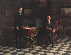 Peter I interrogating his son Alexei, a painting by Nikolai Ge (1871)