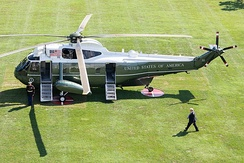 President Donald Trump with Marine One on the White House South Lawn in 2018