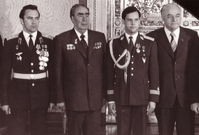 Photo of an ailing Brezhnev (second from left) on 1 June 1981, a year before his death