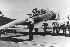 Damaged VB-6 SBD-3 on Yorktown after the attack on Kaga at Midway