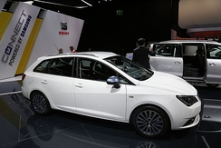 A white SEAT Ibiza CONNECT edition at the Frankfurt Motor Show