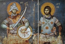 A fresco with Saint Mercurius and Artemius of Antioch.