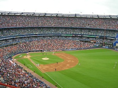 Shea Stadium prior to the start of a New York Mets game in 2008. Shea had the best attendance in the National League that year, drawing over 53,000 fans per game on average.