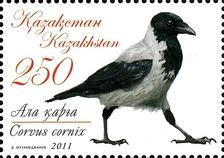 Серая ворона на почтовой марке Казахстана, 2011