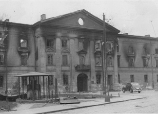 The building of the Jewish Council in Warsaw, burned during the Warsaw Ghetto Uprising