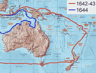 Abel Tasman's routes of the first and second voyage