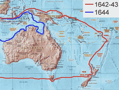 The route of Abel Tasman's 1642 and 1644 voyages in New Holland (Australia) in the service of the VOC (Dutch East India Company)