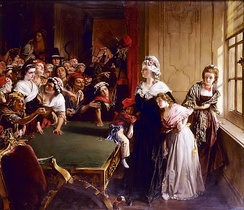 Marie Antoinette with her children and Madame Élisabeth, facing the mob that had broken into the Tuileries Palace on 20 June 1792, (Musée de la Révolution française)