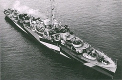 The U.S. Navy Tacoma-class patrol frigate USS Gallup at San Pedro, California, on 30 May 1944