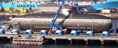 Type 212 submarine with air-independent propulsion of the German Navy in dock at HDW/Kiel