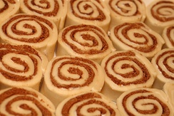 Uncooked cinnamon roll buns