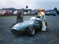 Brooks shared this Vanwall VW5 with Stirling Moss to win the 1957 British Grand Prix.