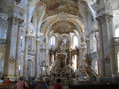 The altar of the Vierzehnheiligen, pilgrimage church in Upper Franconia.