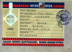 Entry Permit to Nagorno-Karabakh issued in Yerevan as a stand-alone document rather than a visa affixed in a passport