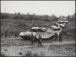Dutch tanks, pictured in West Germany in 1956 as part of the large British and American-led foreign military presence in the country
