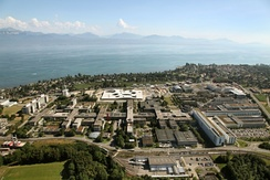 The campus of the École polytechnique fédérale de Lausanne (EPFL) and the University of Lausanne, at the shores of Lake Geneva.
