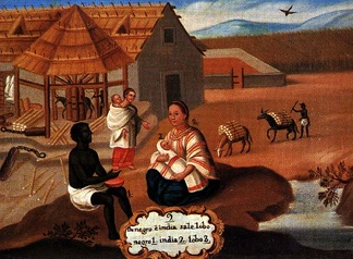 "A representation of an infant zambo, in an 18th-century ""Pintura de Castas"" from New Spain. The painting illustrates ""from a Black and an Amerindian produces a lobo"", here a synonym for zambo."